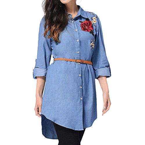 Zhuhaixmy Damen Sommer Beiläufig Lange Ärmel Hemd Stickerei Blume Bluse Top Mantel Kleid One Color
