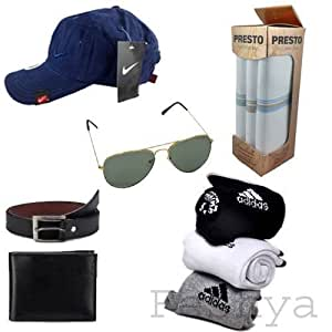 Feshya Men's Value Pack Combo - Cap,sunglass,wallet,belt,socks,handkerchief