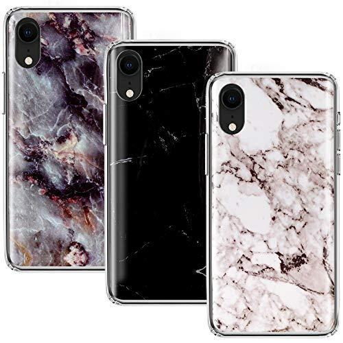 CLM-Tech kompatibel mit iPhone XR Hülle 3X, TPU Silikon-Hülle Case Schutzhülle Handyhülle 3er Set, Marmor Muster schwarz weiß Mehrfarbig