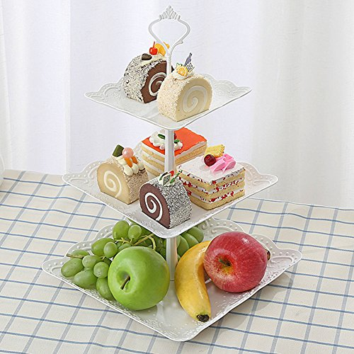 (3Etagen Tortenständer, OWIKAR, für Obst, Teller 6, 8, 10Zoll threee Stufen Dessert-Ständer mit für Party-Teller mit Stollen)