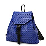 Brand New Women Matte Triangle Laser Backpack Female Bags Diamond Geometry Quilted Backpack Mosaic School Bags Sky Blue 13 inches