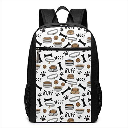 TRFashion Rucksack Cute Dog Bowls Fashion Student Outdoor Backpack 17in Teens Bookbags Travel Laptop College Business Daypack Schoolbag Book Bag for Men Women Black -
