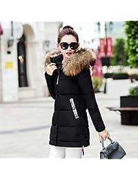 RoadRoma 2XL Moda de Estilo Largo para Mujer Invierno Delgado Abrigo Engrosamiento algodón Invierno Chaqueta Negro