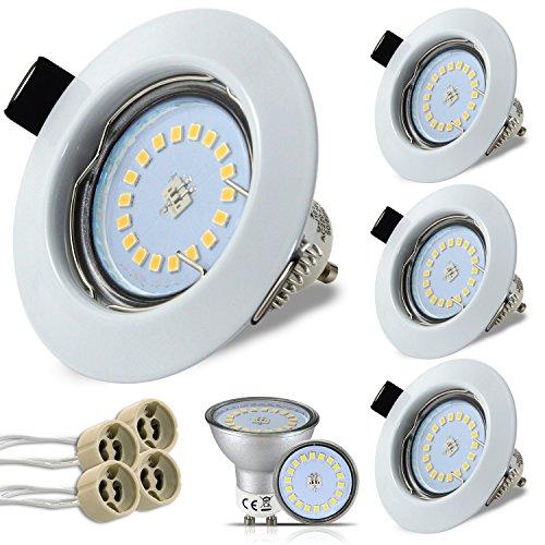 HiBay® 4x 5W 18PCS High Power LED GU10 Deckeneinbaustrahler Deckeneinbauleuchte Einbaurahmen Einbaustrahler Einbauleuchte Einbauspot Naturalweiß, 2 Jahre Garantie