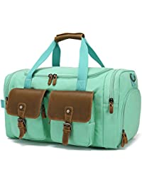 Weekender Duffle Bag Leather Overnight Bag Canvas Travel Duffel With Shoe Compartment Travel Tote Carry On Luggage