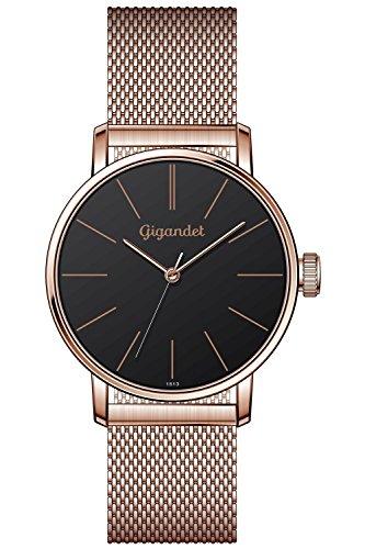 Gigandet Damen-Armbanduhr Minimalism Quarz Uhr Analog Milanaise Edelstahlarmband Rotgold Schwarz G43-024