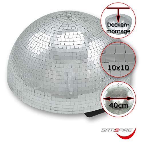 Halb-Spiegelkugel 40cm mit Motor, 10x10mm Facetten - Ideal für Festeinbau in Partyraum bei niedrigen Decken, Mirrorball half (Halbe Umdrehung)