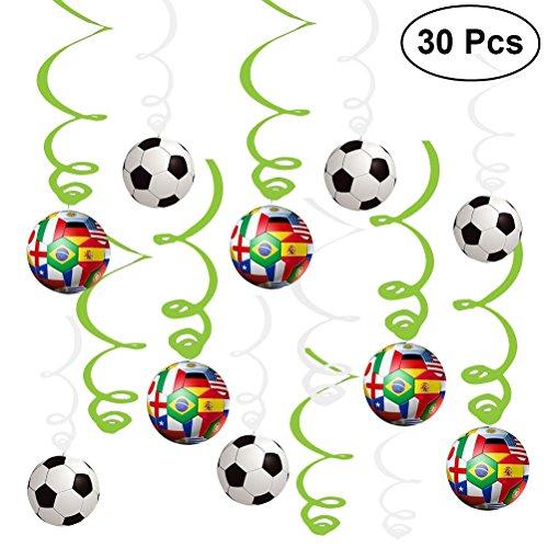 YeahiBaby Girlanden Spiral Wirbel Deckenhänger National Flagge Fußball 2018 World Cup Thema Party Dekorationen 30 Stück