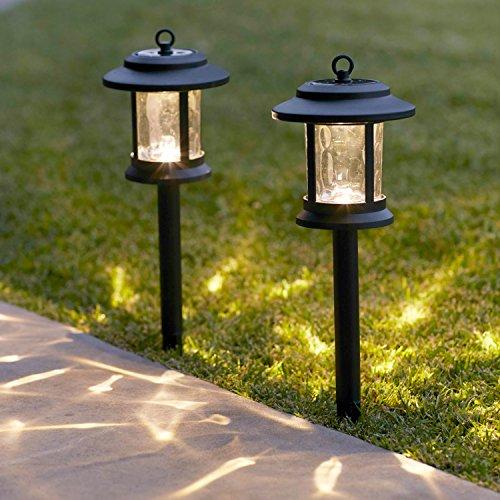 Lights4fun Lot de 6 Lanternes Solaires en Verre avec LED Blanc Chaud sur Pique pour Jardin