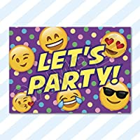 A6 CARDS - Birthday Party Invitations Invites Pack Girls Boys Childrens Kids with Envelopes (Emoji)