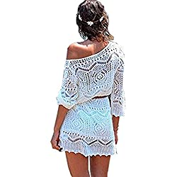 Minetom Mujere Elegante Boho Encaje Crochet Bikini Cubrir Cover Up Blanco Ganchillo Hueco Playa Vestido Pareos Traje De Baño Blanco ES 38