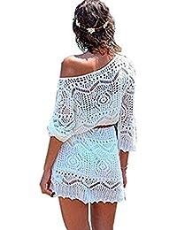 Minetom Mujere Elegante Boho Encaje Crochet Bikini Cubrir Cover Up Blanco Ganchillo Hueco Playa Vestido Pareos Traje De Baño