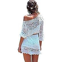 Minetom Mujere Elegante Boho Encaje Crochet Bikini Cubrir Cover Up Blanco Ganchillo Hueco Playa Vestido Pareos