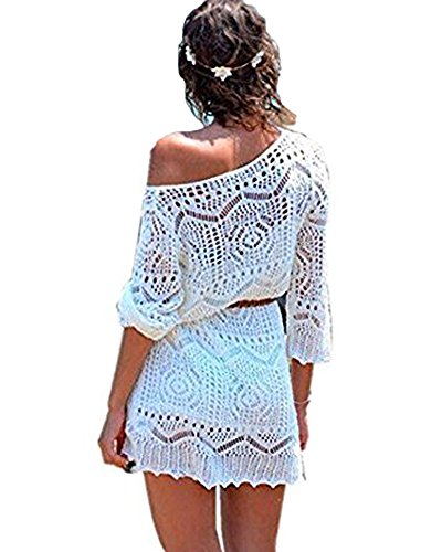 c651d2b6650f9 Minetom Women Summer Elegant Bohemia Lace Crochet Hollow Mini Dress  One-Shoulder Bikini Cover Up Sexy White Gown Blouse Beach Vacation White UK  12 - Buy ...