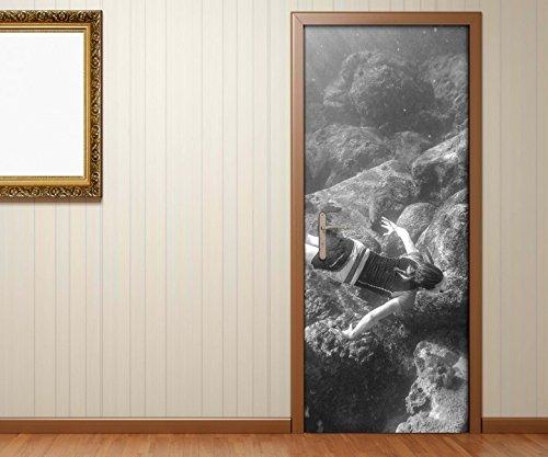 Türaufkleber Sport Tauchen Ozean Koralle Riff schwarz weiß Tür Bild Türposter Türfolie Türtapete Poster Aufkleber 15A1806, Türgrösse:90cmx200cm