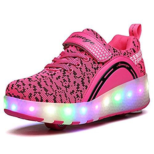 Kinder Schuhe mit Rollen Mädchenschuhe Skateboardschuhe Mädchen Skateboard Schuhe LED Roller Skate Schuhe Sneakers Turschuhe Laufschuhe Sportschuhe mit Rollen für Mädchen Jungen Rosa 39
