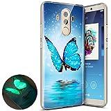 Surakey Coque Compatible avec Huawei Mate 10 Pro,Nuit Luminous Effet Fluorescent TPU Housse Silicone Transparent Coque Souple Housse Étui Protection TPU Case Cover (Papillon Bleu)