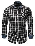Mallimoda Herren Hemd Langarmhemd Baumwolle Plaid Shirts Slim Fit Freizeithemd Schwarz XS