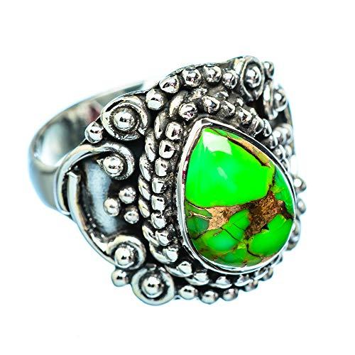 Green Copper Composite Turquoise, Grüner Kuper zusammengesetzter Türkis 925 Sterling Silber Ring 7.5 (Ana Silver Co Ringe Grün)