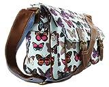 Miss Lulu Ladies Butterfly Canvas Satchel Bag Light Blue L1157B BE