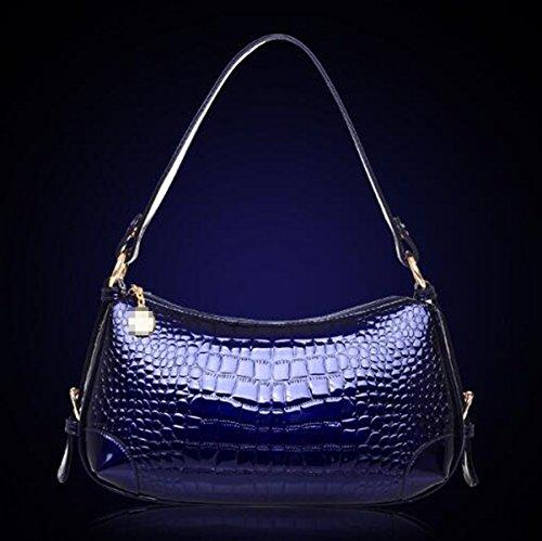Struttura Del Coccodrillo Impermeabile Borsa Del Tote Sacchetto Di Spalla Sacchetto Della Cartella Per Le Donne Multicolore Blue