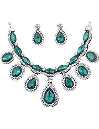 Joyería de la boda Yazilind Mujeres lágrima cristalina Real Pendiente azul collar fornido fijó para la dama de honor