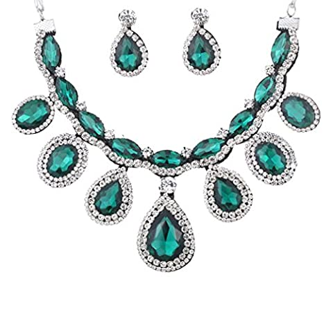 Yazilind Women Silver Plated Crystal Teardrop Green Chunky Necklace Earring Wedding Jewelry Set for Brides