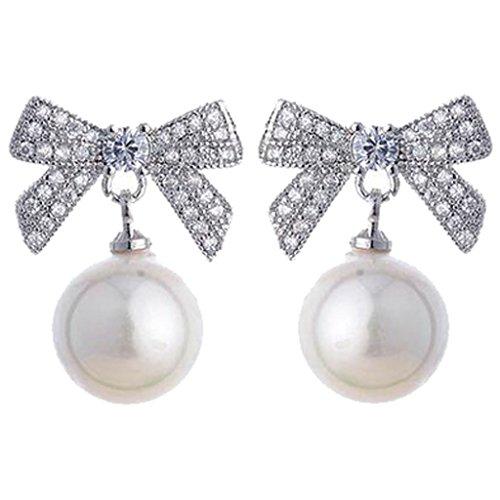 Zirkonia Schleife Clip auf Ohrringe für Mädchen Damen Simulierte Perle Nicht durchbohrt Weiß Gold überzogen