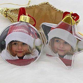 lingzhuo-shop 10 Piezas Bolas de Árbol de Navidad Juego de Adornos Transparente Decoraciones para Fotos Decoración de Fotos de Plástico para El Hogar Fiesta de Bricolaje Regalos para Niños