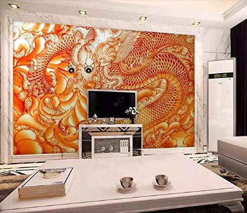 Fotomural 3D Papel tejido no tejido Papel Pintado Foto mural Wallpaper Pared dorada del patrón del dragón en relieve