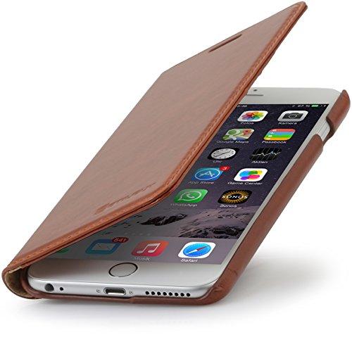 """StilGut Talis, Wallet-Case Schutz-Hülle für iPhone 6s Plus (5.5"""") mit Kreditkarten-Fächern aus echtem Leder. Seitlich aufklappbares Flip Case in Handarbeit gefertigt für das Original Apple iPhone 6s P Cognac"""