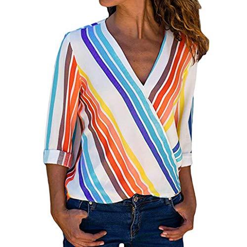 SMILEQ Frauen Mode Langarm Multicolor Gestreifte Unregelmäßige Bluse Tops T-Shirt (L)