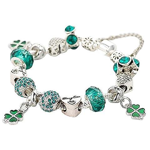 St. Patricks Day Irish Gute Lucky charms- Adan BANFI Shamrock Clover Perlen Armreif Armband mit grünem Kristall
