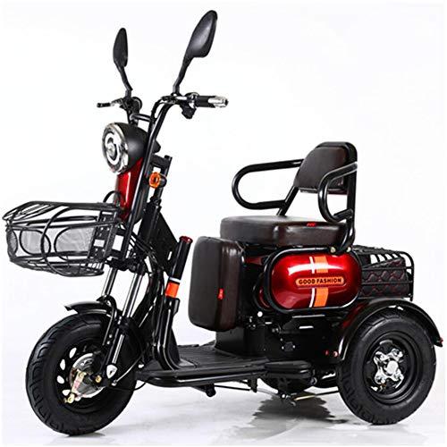WeeLion 3-Wheel Moto Scooter Elettrico Triciclo di Svago Intelligente antifurto 600W / 48V20A Chilometraggio 40-50 Km/Portante 300Kg,Rosso