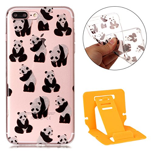iphone 7 plus Glitter Custodia, iphone 7 plus Silicone Cover, Trasparente Caso for iphone 7 plus 5.5, Ekakashop Moda Fantasia Creative 3d Gel Soft TPU Silicone Gomma Cover, Colorato Painting High pen Panda