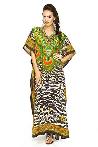 Looking Glam Neu Damen überdimensional Maxi Kimono Kaftan Tunika Kaftan Damen Top freie Größe brown-17004
