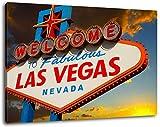 Las Vegas Ortsschild Format:100x70 cm Bild auf Leinwand bespannt, riesige XXL Bilder komplett und fertig gerahmt mit Keilrahmen, Kunstdruck auf Wand Bild mit Rahmen, günstiger als Gemälde oder Bild, kein Poster oder Plakat