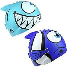 Protezione di Nuoto del Silicone dei Capretti dei 2er Per i Ragazzi dei Ragazzi Nuotare il Modello di Squalo del Fumetto Animale del Fumetto Animale Cappelli Impermeabili di Nuotata un Formato