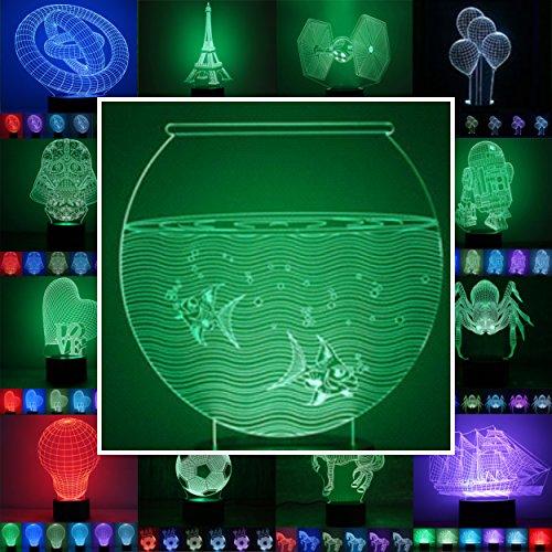 3D Lampe 3D Leuchte 3D LED Stimmungslicht. 7 Farben - 81 verschiedene Motive, hier Aquarium ca.18x15cm inkl.Sockel - 3D Illusion Dekolicht mit USB Anschluß und 220V USB Netzteil