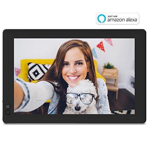 Nixplay Seed 10 Zoll Widescreen Bilderrahmen mit WLAN, Fotos einfach über App übertragen. Automatisches EIN/Ausschalten durch den Bewegungssensor, Fernbedienung. In Schwarz. W10B