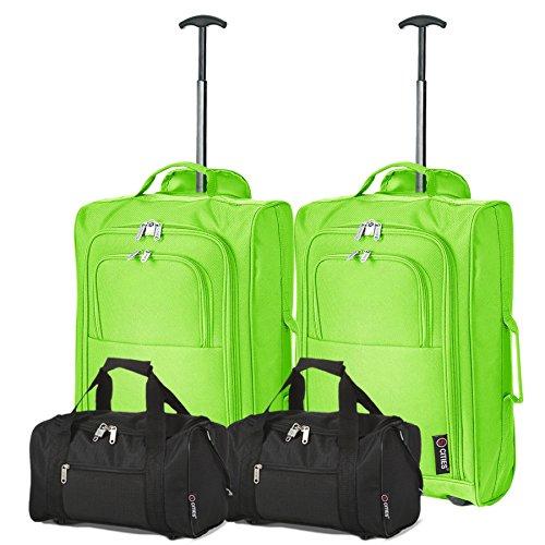 Set da 4 Ryanair - (2 di) 35x20x20 Borsa da Cabina + (2 di) 55x40x20 Bagaglio a Mano Trolley - Omologate per salire a bordo (entrambe) di Ryanair! (Verde/Nero)