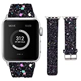 VIWIV Iwatch-Armband für Apple Watch1/2/3/4-Serie 42mm / 44mm / 40mm / 38mm Zubehörband 2018 Flashing Bright Hand Band,Black,44mm