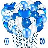 Evance 94 Pezzi Palloncini in Lattice Bianco Blu, Foil Palloncini, Palloncini coriandoli, Elio Pallone per Anniversario, Deco