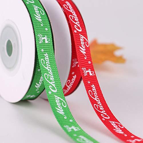Saniswink Doppelseitiges Stoffband Seidensatin Rolle, 9m Frohe Weihnachten Brief Drucken Seidensatin Band DIY Handwerk Geschenkpapier Dekor rot