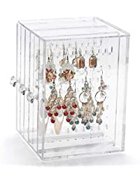 Sonnis Acrylic Jewelry Storage Box,Earring Display Stand Earring Organizer Holder Hanger Earring Studs with 3 Vertical Drawer
