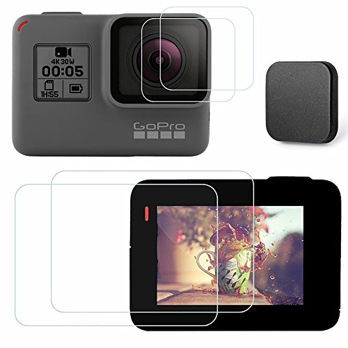 Kimilar 4 pcs gopro hero 5 pellicola protettiva con copriobiettivo, protezione dello schermo in vetro temperato e coperchio copriobiettivo per gopro hero5 videocamera