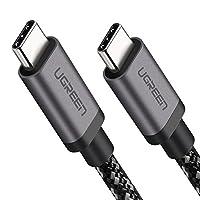 UGREEN USB C كابل 3.1 شاحن سريع نوع C-C سلك الطاقة مضفر لجوجل بيكسل 2 XL ، نيكزس 6P 5X ، آبل مابوك برو ، كروم بوك ، سامسونج جالاكسي S8 بلس S9 نينتندو سويتش ، LG G7 V20 V30 G6 G5-1 متر
