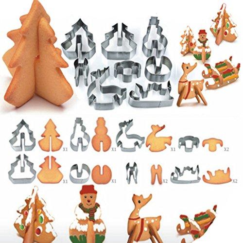 Andux Zone 3D Cookie Cutter 8 pezzi acciaio inox 430 di Santa Scenario biscotto attrezzi di cottura della muffa | Pupazzo + Natale albero + slitta + cervi | BGMJ-04