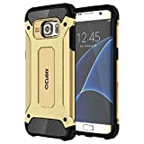 Cheetah Tough Rugged Shock Proof Dual Layer Hybrid Anti Scratch Bumper Back Cover for Samsung Galaxy S7 edge (Gold)