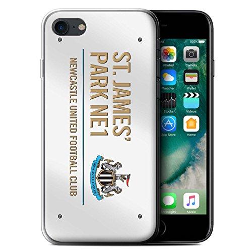 Offiziell Newcastle United FC Hülle / Gel TPU Case für Apple iPhone 7 / Schwarz/Gold Muster / St James Park Zeichen Kollektion Weiß/Gold